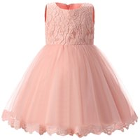 Wholesale- Flower Princess Neonato Tutu Dress For Girls 1 Anno Birthday Party White Baby Girl Dress Abiti da sposa abbigliamento per bambini