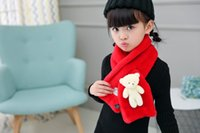 Wholesale Scarfs Bear For Kids - Winter Children Rabbit Faux Fur Scarf Wraps Warm Soft Scarves Solid Colors Cross Neckerchief For Boys Girls Kids With Bear Toy