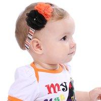 Wholesale Orange Chevron - Halloween flower headband   orange and black flower   Chevron elastic band