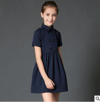 Wholesale Double Breast Girl Dress - Children princess dresses Big girls cotton double-breasted pleated dress Kids short sleeve lapel pure color dress Girls party dress C1876