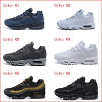 Wholesale Mens Casual Shoes Boots - Running Shoes For Men Air Cushion 95 Sneakers Boots Authentic 2017 New Mens Black Red White Walking Discount Sports Casual Shoes
