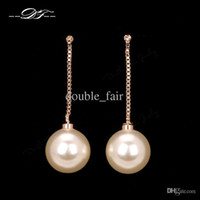 2015 New Elegant Elegant Pearl Beads Party / Wedding 18K Gold Plated Drop Earrings Moda Marca Jóias para Mulheres DFE669 brincos