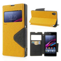 Wholesale Korea Flip Cases - For sony xperia z1 Case Korea Diary Leather View Window Flip Stand Case For Sony Xperia Z1 L39h Case C6902 C6903 C943