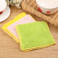 cozinha mágica toalha de pano de limpeza venda por atacado-Superfine fibra de Lavar Toalha Mágica Cozinha pano de limpeza Multi cores espessamento de absorção de água prato Pano IA1008