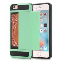 Wholesale Green Hid - Luxury Dual Layer Hybrid Back Case With Slide Hide Card Holder For Apple iPhone 4 4S 5 5S SE 6 6S 6S PLUS Hard Slim Soft Armor Cover