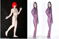 Wholesale Transparent Zentai Suit - White   Purple transparent zentai shiny suit-Very sexy!