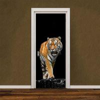 Wholesale ferocious animals - 2pcs set Ferocious Tiger Wall Stickers DIY Mural Bedroom Home Decor Poster PVC Waterproof Animal Door Sticker Lmitation 3D Removable Decal