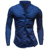 Wholesale Mandarin Collar Shirts Wholesale - Wholesale-2016 new solid color collar comfortable fabrics men designer shirts casual fashion chemise homme marque luxe