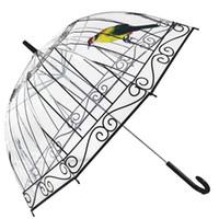 ingrosso chiaro fungo trasparente-Ombrello trasparente di POE dell'ombrello trasparente di modo per l'ombrello della stampa del fungo delle ragazze per trasporto libero 20pcs / lot
