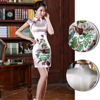 Wholesale Ladies Evening Dresses China - 2017 Hot Chinese oriental dress ice silk sexy Cheongsam High Collar Short Sleeves China Qipao Lady party Prom evening Dress