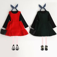 Wholesale Western Suspenders - Everweekend Kids Girls New Western Fashion Sweet 2pcs Black Color Top Clothing and Suspender Ruffles Dress 2pcs Dress Sets