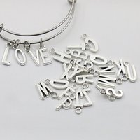 Wholesale Silver Plated Initial Charms - New Vintage Alloy Alphabet Charms Metal Initial Letter Charms 260pcs lot, Each Alphabet Charms 10pcs, AAC1198
