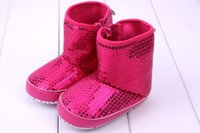 Wholesale Kids Bling Boots - Newborn Baby Girl Kids Prewalker sequins boots Infant Toddler Soft Soled Anti-slip Boots Booties babies shoes girls princess shoes 8143