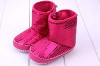 Wholesale Pink Newborn Booties - Newborn Baby Girl Kids Prewalker sequins boots Infant Toddler Soft Soled Anti-slip Boots Booties babies shoes girls princess shoes 8143