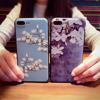 Wholesale 3d Printed Phone Case - For iphone 7 7plus 8 6 6 plus 6s Case 3D Relief Printing Silicone TPU Plum blossom Cover Phone Case For iphone 6s plus Bag