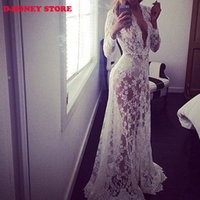 Wholesale Sexy Plus Size Pencil Dresses - 2016 Maxi Plus Size Women Floor-Length White Autumn Lace Dress Adjust Waist Sexy See Through Floral Vestido dresses for womens