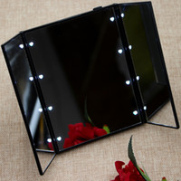 Wholesale Rectangle LED Mirror Make Up Artist Mirror with Light Portable for Travel and in the dark Birthday Gift for Girl Friends