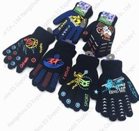 Wholesale Riding Gloves Children - Warm Double Thick Layer Of Children Finger Golves Cartoon Pattern Winter Knitting Kids And Baby Riding Gloves Mix 6 Colors Wholesale