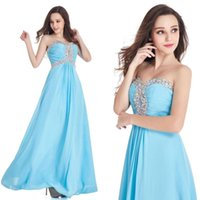 Wholesale Empire Ice - Stock A Line Prom Dresses Ice Blue 2017 Real Image Sweetheart Off the Shoulder Long Evening Party Gowns with Crystal Bead Cheap $34.9 CPS405