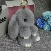 Wholesale Hot Pink Hangers - 2016 new fashion rabbit fur keychain for bag, bag hanger, rabbit fur toys, hot sale rabbit fur key ring for decoration