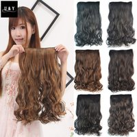 """Wholesale Half Head Extensions - Wholesale-New 27"""" long curly synthetic hair clip in half head hair extension 17 colors 150g black brown blonde auburn free shipping"""