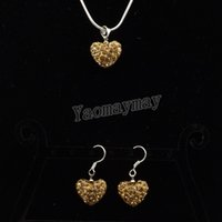 Wholesale Gold Shamballa Necklace - Fashion Shamballa Jewelry Set Light Gold Heart Pendant Crystal Earrings And Necklace 5 Sets Wholesale Free Shipping