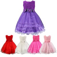 Wholesale Kids Dresses Fashion Design - PrettyBaby 5 colors kids girls princess dress sleeveless 3D flower + bow belt fashion design party dress 100pcs Lot free shipping