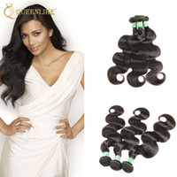 vague noire du corps tissé brésilien achat en gros de-Brazilian Virgin Hair Weave Bundles Body wave 1B Dyeable Unprocessed Remy extension des cheveux humains Pour Black Women Queenlike Silver 7A Grade