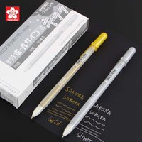Wholesale Highlight Markers - Wholesale-Sakura Jelly Roll 0.7mm gold sliver Gel Pen Highlight liner for Art Marker Design Comic Manga Painting Supplies free shipping
