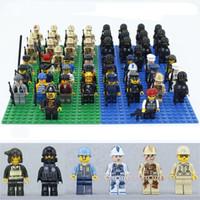Wholesale Model Figure Base Set - Bricks Blocks Sets Models Mini Building Blocks Figures Building Brick Military Toys For Children 13pcs lot + Weapon + 16*16 Dots Base Plate