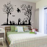 Wholesale Large Jacks - New Large Size Witch Bat Jack-o-lantern Halloween Art Mural Decal DIY Festival Wall Sticker for Living Room Porch Home Decoration Removable