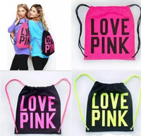 Wholesale Drawstring Backpack String Bags - Women Victoria Pink Backpack VS LOVE PINK School Bags Pink Letter Storage Bags Fashion Canvas VS Organizer Shopping Bags Drawstring Bag