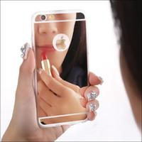 parachoques del metal fino del iphone al por mayor-Cubierta ultrafina fina de lujo de la PC del marco del parachoques del metal de la caja del espejo para el iPhone 7 SE 6 6S más 5S Nota del borde de Samsung Galaxy S7 S6 5 7 MQ50
