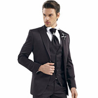 Großhandels-Black Herren Hochzeit Anzüge Kerbe Revers Bräutigam Smoking Beste Mans Groomsman Bridegrooms Herren Formal Wears (Jacket + Pants + Vest)