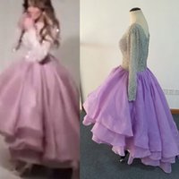 Wholesale Cheap Hi Lo Prom Dresses - Cheap Hi Lo Prom Dresses with Long Sleeves vestidos de fiesta Silver Lace Beaded Tiered Organza Middle East Party Dresses