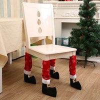 Wholesale Fabric Desk - Christmas Chair Leg Foot Cover Table Christmas Decoration for Party Dinner Red Desk Cover Decor 40 *21cm Décor YYA667