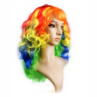 Wholesale Wigs For Halloween Costumes - Colorful big wavy wig costume costumes for Halloween costumes