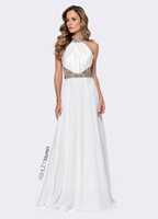 2016 ASHLEY Lauren A sexy linea vestiti da sera in rilievo cristallo colletto Prom Dresses White Satin Sash Backless drappeggiato Gonne Abiti da sera