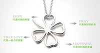 Wholesale silver chains flower heart pendants for sale - Group buy Hollow Heart Leaf Necklace Lucky Four Leaf Clover Necklace Silver Necklace Chain Lucky Flower Charm Pendant DHL