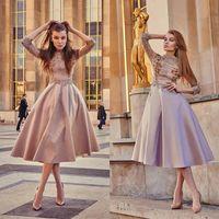 Wholesale Tea Party Dresses Womens - Exquisite Short Womens Dress Formal Wear 3 4 Sleeve Crystal Applique Prom Gowns Lace High Neck Satin Tea Length Party Dresses