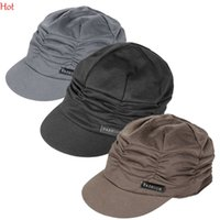 Wholesale Amazing Fashion Korean Women Army Military Cap Knit Top Hat SPleated Peaked Hat Vintage Floppy Outdoors Sun Hats Black Grey