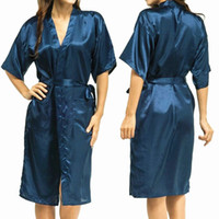Wholesale Womens Silk Bathrobe - Wholesale-Mens Womens Plus Size Long Satin Bath Robe Sexy Kimono Silk Bathrobe Men Peignoir Homme Dressing Gown for Men Summer Robes