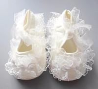 Wholesale Baby Baptism Shoes Lace - 2017 Baby Girl Newborn Infant Cute Crochet White Ivory Lace Christening Dress Baptism Flower Princess Shoes 0-13M Prewalker Boot