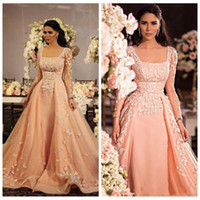Wholesale Indian Chiffon Evening Gowns - Arabic Indian Long Sleeves Women Prom Dresses Formal Evening Dress With Lace Applique 2016 Square Zipper Satin Tulle Prom Party Gowns