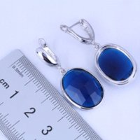 Wholesale Earring Gift Bags - Excellent 925 Sterling Silver Jewelry Blue Sapphire Oval Huggie Hoop Earrings for Party & Wedding Free Gift Bag J0497