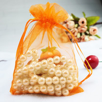 Wholesale Orange Wedding Favor Bags - Drawable Orange Bolsas Organza Drawstring Pouches Jewelry Party Small Wedding Favor Gift Bag Packaging Gift Candy Wrap Square 5X7cm 2X2.75''