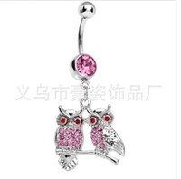 Wholesale Owl Rings Jewelry - D0587 owl style clear or pink colors Belly Button ring Navel Rings Body Piercing Jewelry Dangle Accessories Fashion Charm 10PCS