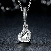 Wholesale Pandora Heart Dangle Charms - Beloved Mother Hearts Pendant Dangle Charms Genuine 925 Sterling Silver with Clear CZ for Pandora Style DIY Beaded Charm Bracelets S315