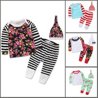 Wholesale Shirt Jumper Set - Boys Girl Striped Flower Dot Sets Baby Children Clothing t-shirt Pants Hat Suits Jumpers Toddler Pajamas Leggings Casual Home Clothes HH-S03