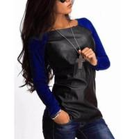 mangas de couro blusa venda por atacado-Mulheres Blusas 2018 Camisas de Manga Longa PU de Couro Patchwork Blusas Moda Outono Inverno Casual Solto Tops Blusas Plus Size